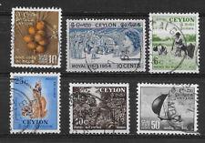 CEYLON , SRI LANKA , ELIZABETH II , 1954 , SET OF 6  STAMPS , PERF , USED