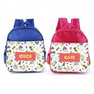 Personalised Mini Kids Backpack Toddler Rucksack School Lunch Bag Construction