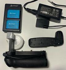 EOS RP extender grip, dbl battery grip, battery coupler, 2x batteries & L-Plate