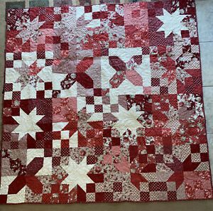 Handmade Red Floral Throw Quilt