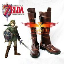 Game The Legend of Zelda Link Brown Costume Shoes Cosplay Boots Custom Made