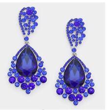 "3.25"" Long Big Silver Royal Blue Dangle Rhinestone Crystal Pageant Earrings"