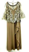 Le Bos Womens Sz 16 Embroidered Lace Stone Taupe Long Dress Draped Front NWT