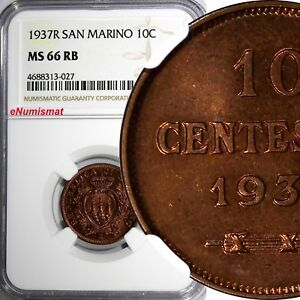 San Marino Bronze 1937-R 10 Centesimi NGC MS66 RB TOP GRADED BY NGC NICE KM# 13