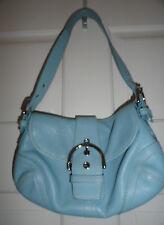 Coach Women's Satchel Handbag Purse Light Blue Leather with Buckle Accent