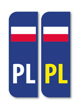 2 x PL FLAG POLAND Car Number Plate vinyl stickers