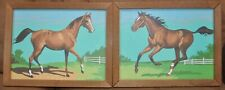 Pair of Vintage Horse Paint By Number Framed Pictures - Adult & Foal