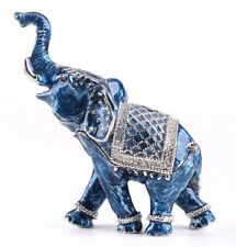 Blue Elephant Faberge trinket box hand made by Keren Kopal & Austrian crystal