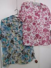 2 , SHORT SLEEVED BLOUSES ONE PINK ONE BLUE, SIZE 16-18 BY MILLERS