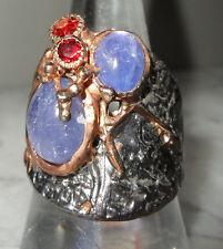 Handmade Natural Cabochon Tanzanite & Garnet SS Ring - Size T US 9 3/4 - R0088