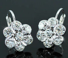Leverback Crystal Silver Plated Round Stone Costume Earrings