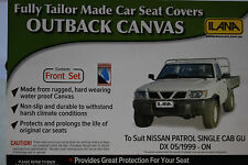 OUTBACK CANVAS SEAT COVERS NISSAN PATROL UTE GU DX SINGLE CAB 1999 ONWARDS