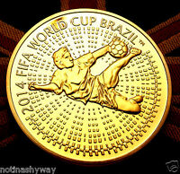 Russia FIFA Gold Coin World Cup 2014 Brasil Medal Footballer Soccer CCCP 2018 UK