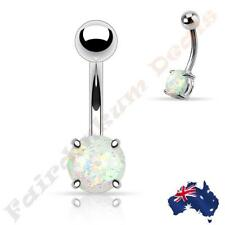 316L Surgical Steel Silver Belly Ring with Prong Set White Glitter Opal