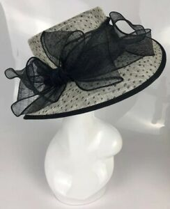 BHS Straw Sinamay Black White Large Spot Bow Wedding Event Ladies Day Horses Hat