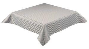 "GEOMETRIC DESIGN EASY CARE SATIN GREY TABLE CLOTH TABLE TOPPER £5.99 36"" SQUARE"