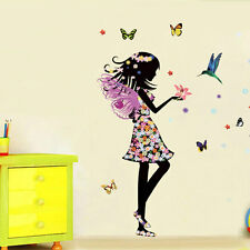 Fairy Princess Butterfly Wall Sticker Art Mural Decor for Girls Bedroom Nursery
