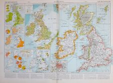 1913 MAP BRITISH ISLES PORTS INDUSTRY MINES AGRICULTURE SCOTLAND ENGLAND IRELAND