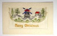 WW1 SILK EMBROIDERED POSTCARD - MERRY CHRISTMAS