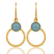 Blue Chalcedony CZ Gemstone Gold Plated Dangle Earring Fashion Jewelry
