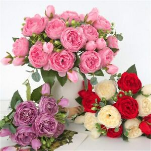 1 bundle 9 heads Peony Tea Rose Artificial Flowers Bouquet Home Wedding Decor