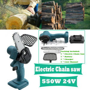 Cordless Electric Chain Saw Wood Cutter Mini Saw Garden Cutting Tools +Battery