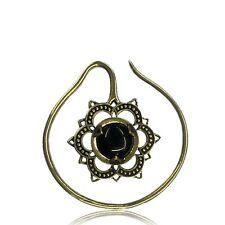 Double Sided Onyx Lotus Flower Tribal Pair 14g Brass Plugs Earrings Gauges Hoops
