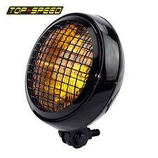 "5 3/4"" Vintage Retro Grille Headlight Amber Lens Lamp For Triumph Scrambler Hot"