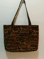 """FAITH,  HOPE,  PRAISE"" PRINT FABRIC TOTE BAG"