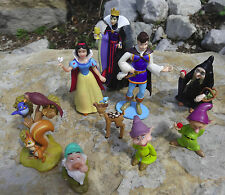 Disney lot of 9 pvc Cake toppers Snow white Witch Queen Dwarves squirrel deer