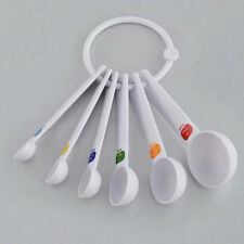 White Measuring Spoon Tea Scoop Teaspoon Baking Cooking Kitchen Tool Utensil 6PC
