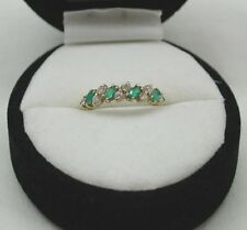 A Very Nice 9ct Gold green And White Stone Half Eternity Style Ring
