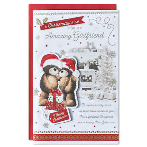 GIRLFRIEND CHRISTMAS CARD ~ EXTRA LARGE 8 PAGE VERSE ~ QUALITY CARD LOVELY VERSE
