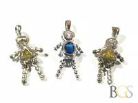 Lot (3) Ladies Sterling Silver Topaz People Necklace Pendants - Take A Look!