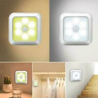 6 LED Night Lights Motion Sensor Wall Closet Cabinet Stair Wireless Lamps P6I9