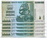 Zimbabwe 50 Million 2008 AA UNC P79 X 5 Banknotes Part of 100 Trillion Series