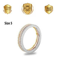 CZ TRIPLE ROW STACKABLE BAGUETTE ETERNITY RING BAND SIZE 5