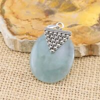 Aquamarine Oval Blue 925 Sterling Silver Pendant Gemstone Jewellery