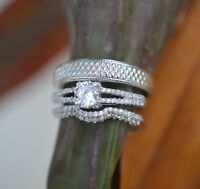 14k White Gold Over His Her Diamond Wedding Band Bridal Trio Engagement Ring Set