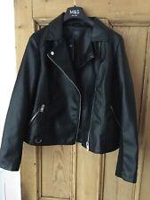 BNWT Size 18 M & S Collection Ladies Black Biker Jacket  faux leather RRP £49.50