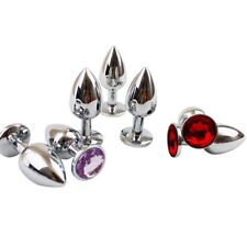 Funny Metal Stainless Steel Butt Plug Anal Jeweled Sex Toys Massager S RED HOT!
