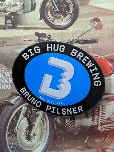 BIG HUG Brewing Bruno Pilsner Pump Badge, Provenance, Man Cave, Home Bar, Cool