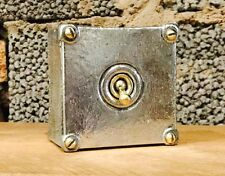 Vintage Walsall Single Toggle Light switch Restored Brass Polished Steel Conduit