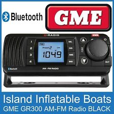 GME GR300 AM FM BLUETOOTH BLACK MARINE RADIO Outdoor Boat Weatherproof Reciever