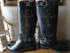 MIA Black Leather Dagger and Rose Tattoo Boots Sz 8.5 BNWB $128