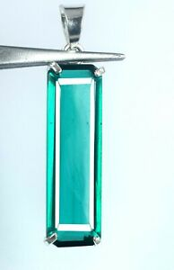 Green Amethyst 925 Sterling Silver Pendant 28.30 Ct Emerald Cut Certified G5855