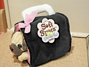 Vintage GANZ SOFT SPOTS ON THE GO, Pug Puppy Dog & Pet Carrier, Plush With Tags