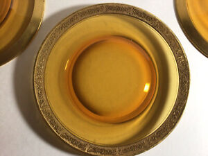 Set Of Three Amber With Gold Rim, Ramblin Rose Pattern Luncheon Plates