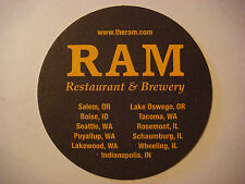Beer Coaster ~<>~ The RAM Restaurant & Brewery ~ Washington,Illinois,Oregon,ID+