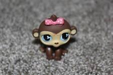 Littlest Pet Shop Monkey #501 Brown Tan Pink Bow Blue Eyes Lps Toy Hasboro